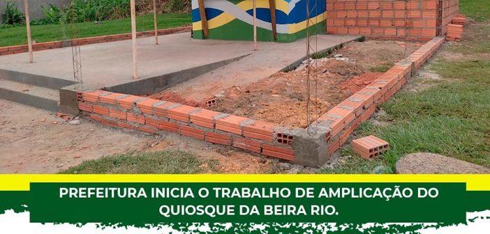 Prefeitura inicia o trabalho de amplicação do quiosque da Beira Rio.